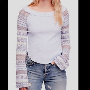 Free people lilac off the shoulder sweater medium